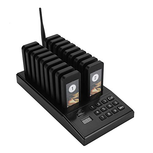 VBESTLIFE Pager-System, Wireless 999 Channel Queue Gastanruf-Paging-Summer-System mit Tastatur-Ladestation und 18 Stück Empfängern Pager für Restaurant, Vibration und Bee Cue-Modus(Schwarz)