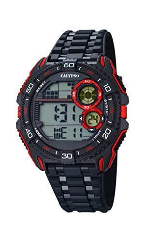 Calypso Hombre Reloj digital con pantalla LCD Pantalla Digital Dial y correa de plástico en color negro K5670/5