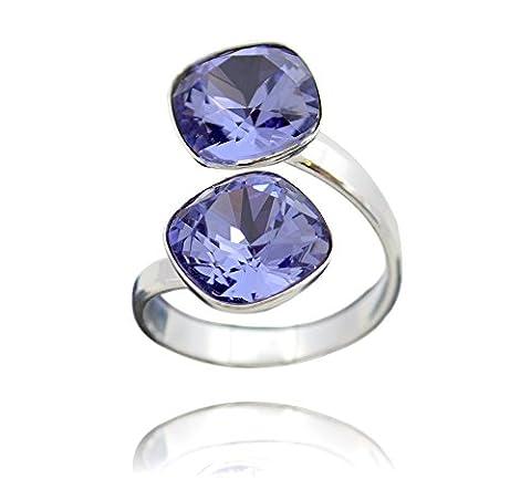 Crystals & Stones Swarovski *DOPPELT SQUARE* *VIELE FARBEN* 925 Silber Ring Swarovski Elements - 925 Sterling Silber Damen Ring Größe Verstellbar (Tanzanite)