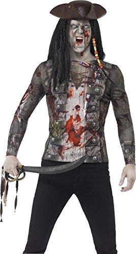 Smiffy's 45564L - Herren Zombie Piraten T-Shirt, Größe: L, (Piraten Kostüm Zombie Ideen)