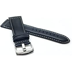 28mm wide, Black Genuine Leather Watch Band Strap, Mat Finish, White Stitching, Also Comes in Brown, Tan and Light Brown