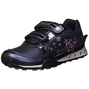 Geox Jr New Jocker Girl A Low-Top Sneakers, (Navy/Fuchsia C4268), 2.5 UK