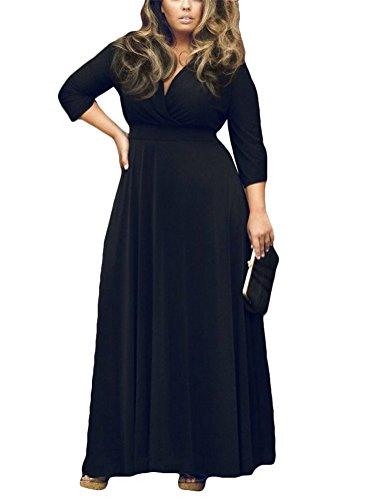 Brinny 3/4 Manches Femme Robe Longue Oversize Slim Fit Lâche V-Neck Plissé grand swing Robe de soirée Pure Color 7 Couleur Taille: L-3XL Noir