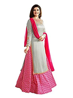 Great Indian Festival Today Best Deal with Sales Discount Offer in Anarkali Get Amazon Prime by RTHub for Womens Lattest Design in Grey & Pink Georgette Designer Collection Embroidered Free Size Party Wear & Mega Diwali Season Sale(Prachi Desai_Pink_Semi-