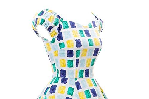 VKStar®Vintage Stil 1950s Audrey Hepburn Kleid / Cocktailkleid Retro Plaidweibliche Rockabilly Swing Kleid Gelb
