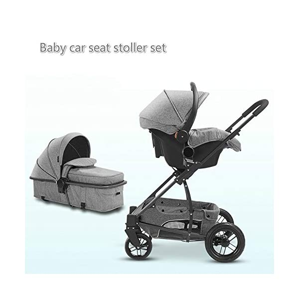 Baby Stroller, High Landscape Baby Doll Stroller, Car Seat Baby Trend Jogging Stroller for Baby Infant Newborn Baby (Color : Gray) AEQ ●SEAT BACK SUPPORT: baby alive stroller seat board, anti-seat surface subsided back board, effectively prevent hunchback, baby stroller fan gives the baby a safe and comfortable seat sleeping basket. ●5+1 SECURITY PROTECTION: for baby stroller five-point seat belt + armrest hatch protection, all-round coverage to protect the baby's key parts, baby pram stroller strictly slip away. ●SUNSCREEN INSULATION LAYER: baby stroller toy through the barrier and reflection dual means, baby strollers to resist UV to reduce the heat. 4