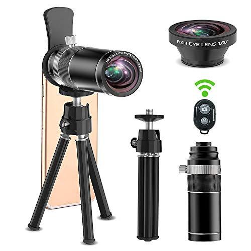 Handy Kamera Objektiv, ARORY 20 x Teleobjektiv + 180 Grad Fisheye-Objektiv, 2 in 1 Telefon Kamera Objektiv + Stativ + Fernauslöser kompatibel für iPhone&Samsung &Smartphone