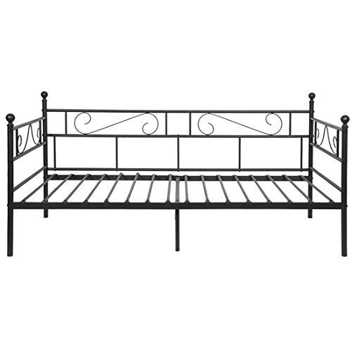 Aingoo Einzelbett Schlafsofa mit Lattenrost Gästebett Metallbett Tagesbett Bettgestell für Kinderzimmer Gästezimmer Schlafzimmer Single daybed (Schwarz)