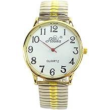 Reloj De Hombre De Mujer Relojes grandes números plata oro reloj de pulsera Flex de reloj
