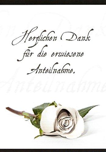 10 Danksagungskarten Trauerkarten mit Umschlägen Motiv Rose / liegend Trauerkarte Trauer Danke (K47)