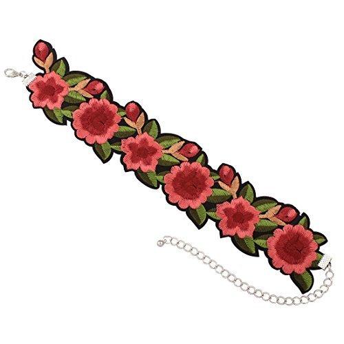 DesiDo® Blumenkropfband Stoffband Kropfband Choker mit Blumen Kropfkette Kragenkette Halsband Halsschmuck Flower aus Stoff (Girl Material Kostüm Madonna)
