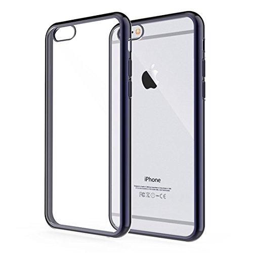 iPhone 6S Coque - iHarbort® protection Apple iPhone 6 6S claire douce Gel Silicium TPU Case Cover avec bord intérieur en métal plaqué (panneau arrière transparente + bord plaqué de coule