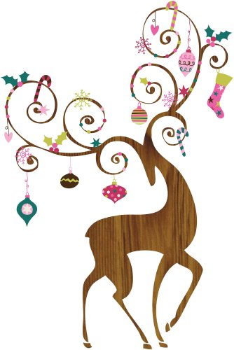 Ornamental Reindeer Peel and Stick Giant Wall Decals