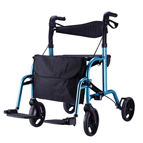 HMHD Leichtgewichtrollator für Senioren,Rollstuhl, höhenverstellbar, Sitzbreite 450mm, maximale Belastbarkeit 130 kg,Gehrahmen Gehhilfe,Rollator und leicht,Stockhalter faltbar Blue