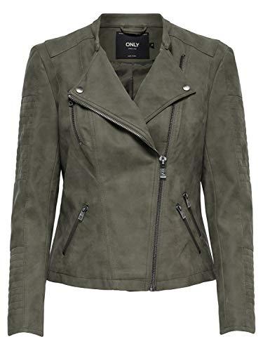 ONLY NOS Damen ONLAVA Faux Leather Biker OTW NOOS Jacke, Grau Kalamata, Large (Herstellergröße: 40)