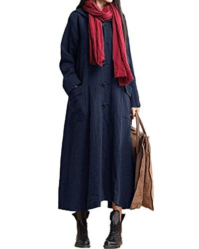 Romacci Damen Weinlese Kleid mit Kapuze Langes Hülsen-beiläufiges Loses Festes Baumwollkleid, Dunkelblau, 5XL