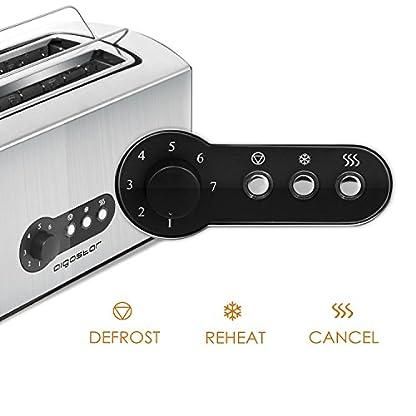 Aigostar-Sunshine-30KDG-Edelstahl-Toaster-Mit-Abnehmbarer-Krmelschublade-1600-Watt-4-Brotscheiben-7-Brunungsstufen-und-3-Kochfunktionen-Farbe-Silber-Schwarz-BPA-Free