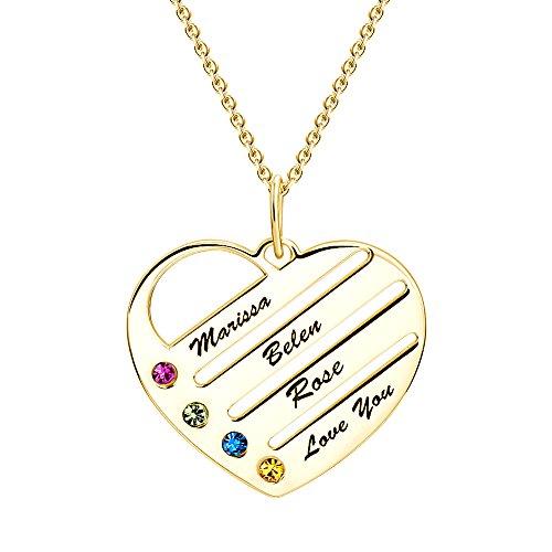Soufeel Damen Halskette mit Graviertem Herz Anhänger Namenskette Kette mit Namen Gravur und Steine 14K vergoldet Besonderes Geschenk für Mutter Familie Geburtstag Weihnachten