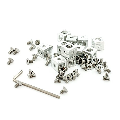 Eckwürfel für Alu-Profilsystem Makerbeam 10x10, Set mit 12 Stück inkl. Schrauben.