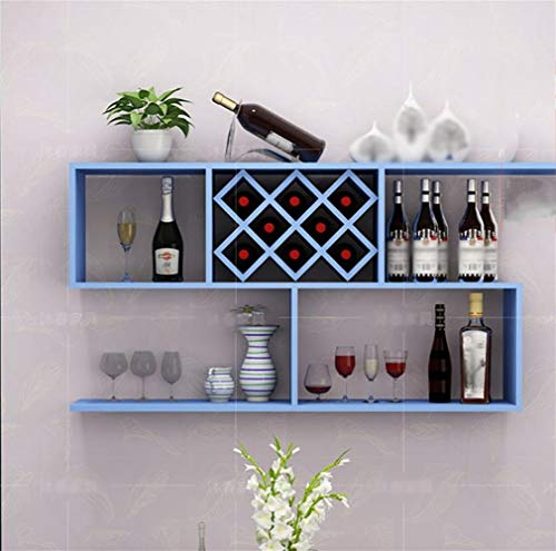 LYDB Weinregal Wandmontage Quadrat Gitter Weinschrank Pastoralen Weinregal Massivholz 5 Gitter 100 * 24 * 65 cm Set von 1, lang, 1 Meter, 2 (8 Quadrate) Blau