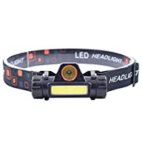 Mainstayae Mini USB Rechargeable COB LEDs Headlamp 400 Lumens Bright Headlight with Magnet-base IPX4 Water-resistant Flashlight for Camping Hiking Fishing