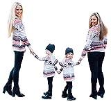 Mutter Tochter Familien Outfit Partnerlook Damen Mädchen Weihnachten Sweatshirt Kapuzenpullover Kleidung Mama Tochter Eltern Kind Druck Klamotten Familienlook Match Hoodie Bluse Weißer L
