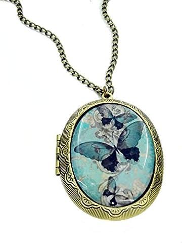 Collier camée papillon bleu