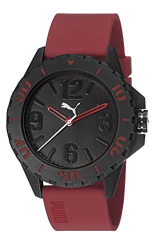 Puma Rock Unisex Quartz Watch with Black Dial Analogue Display and Red PU Strap PU103801004