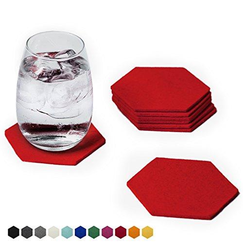Smacc Filzuntersetzer, Hexagon 8er Set (Farbe wählbar) – Glasuntersetzer aus 100% Schafwolle, Untersetzer für Bar und Tisch, Einrichtungsideen als Tischdeko (Rot)