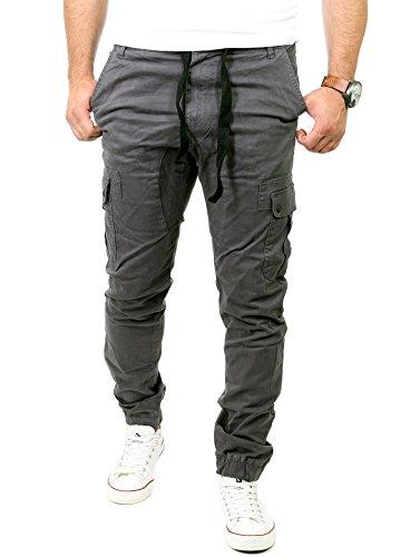 Reslad Chinohose Herren Jogging Jeans Chino Freizeithose Cargo-Hose Jogginghose RS-2084 Anthrazit W32