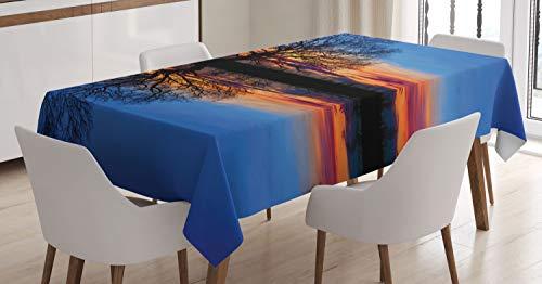 Abakuhaus panorama tovaglia, scenario notte magica, antimacchia stampata con la tecnologia all'avanguardia lavabile, 140 x 200 cm, blue orange