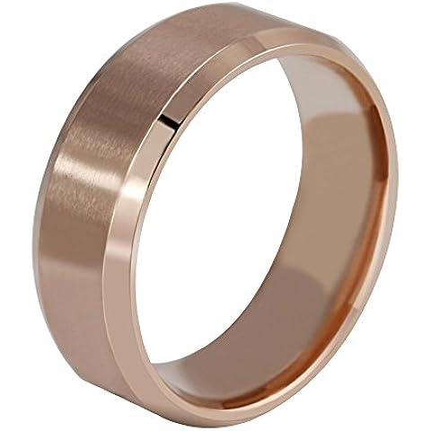 Contever® Anillo de hombre y mujer acero de Titanio Acero Pulido Ring Venda (Diámetro: 23.1 MM) OrodeRose