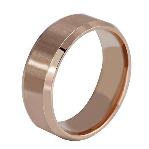 Contever® Damen / Unisex / Herren Edelstahl Herr der Ringe Trauringe Verlobungringe Durchmesser 17.4 MM (Rose (Bestellen Kostüme)