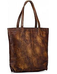 d544c8f581280 AFCITY Damen Handtasche Kosmetiktasche Vintage Rubbing Handtaschen Schulter  Messenger Bag Damen Eimer Taschen First Layer…