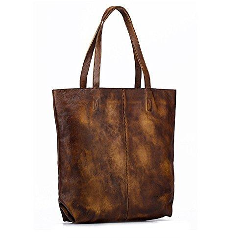 Asdflina Grosse Kapazität Vintage Rubbing Handtaschen Schulter Messenger Bag Damen Eimer Taschen First Layer Ledertaschen Geeignet für den täglichen Gebrauch (Farbe : Gelb)