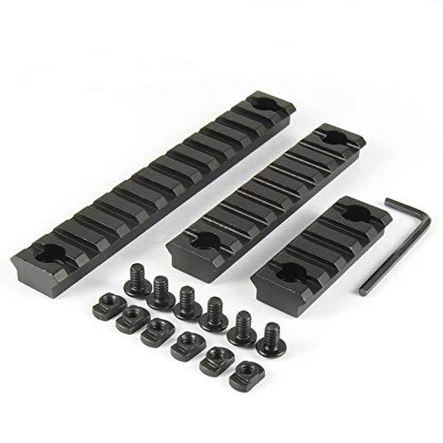 SYWAN 3 Packs Picatinny Schiene Keymod Montageschiene Model 5/9/13 Weaver für M-Lok Aluminium Schwarz (Gewehr-schiene)