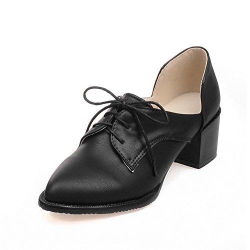 AgooLar Femme à Talon Correct Matière Mélangee Couleur Unie Lacet Pointu Chaussures Légeres Noir