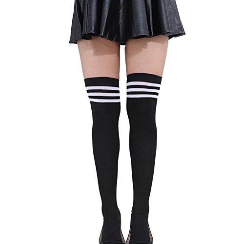 hen Streifen Strumpfhose Socken Knie Schenkel hoch Strümpfe Socken Overknee Überknie Socken schwarz Weiß (Schwarze Knie-socken)