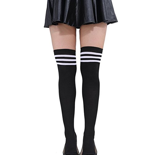 HugeStore Damen Frauen Lange Streifen Socken Overknee Strümpfe Kniestrumpfe Strumpfhose Socken Schwarz-Weiss (Lange Damen-socken)