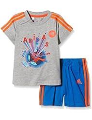 adidas I J Fun Sum Set - Conjunto para niños, color gris / naranja / azul