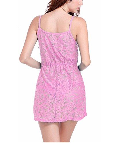 Donna Abiti da Spiaggia Senza Maniche Bikini Cover-Up Spaghetti Vestito Corto Pink