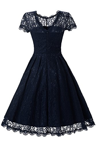Gigileer Elegant Damen Kleider Spitzenkleid Cocktailkleid Knielanges Vintage 50er Jahr hochzeit Party blaue M -