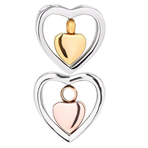 Sharplace 2 x Metall Anhänger Herz Stil Schmuckanhänger Mutter Erinnerung Totenasche Behälter - Pet Behälter Asche
