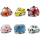 REDDOOR Mini Pull Back Car Set Funny Cartoon Vehicles Toy Gift For Kids 6pcs (Random Style)