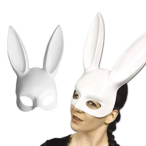 Häschen Deluxe Kostüm - zhaokai Erwachsene Bunny Maske Maskerade Kaninchen Maske Halloween Häschenmaske für Geburtstagsfeier Ostern Halloween Bar Kostüm Cosplay Zubehörbright White