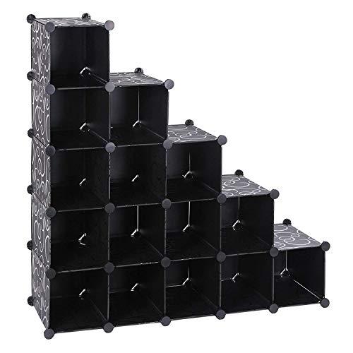 EGLEMTEK Schuhschrank mit 16 Fächern, Schranktüren, 92,5 x 37 x 92,5 cm, Schwarz
