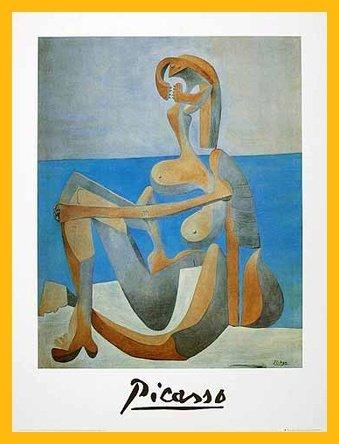 use assise au bord de la mer Poster Kunstdruck Bild im Holz Rahmen in Gelb 80x60cm ()