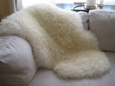 Genuine Natural Ivory Sheepskin Rug by Indigo Silk (Small up to Super Large Sizes) - cheap UK light store.
