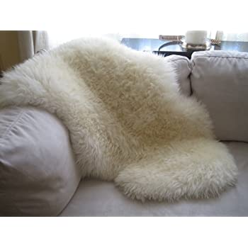 Genuine Natural Ivory Sheepskin Rug By Indigo Silk (Super Large)