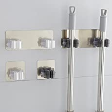 Black Single: Opuss Mop Holder Organizer, Self-Adhesive Wall Mounted Mop Hooks Broom Hanger with Spring Clip for Garden Kitchen Bathroom Storage Rack